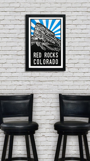 Red Rocks Art Poster - Blue Starburst - 13x19""