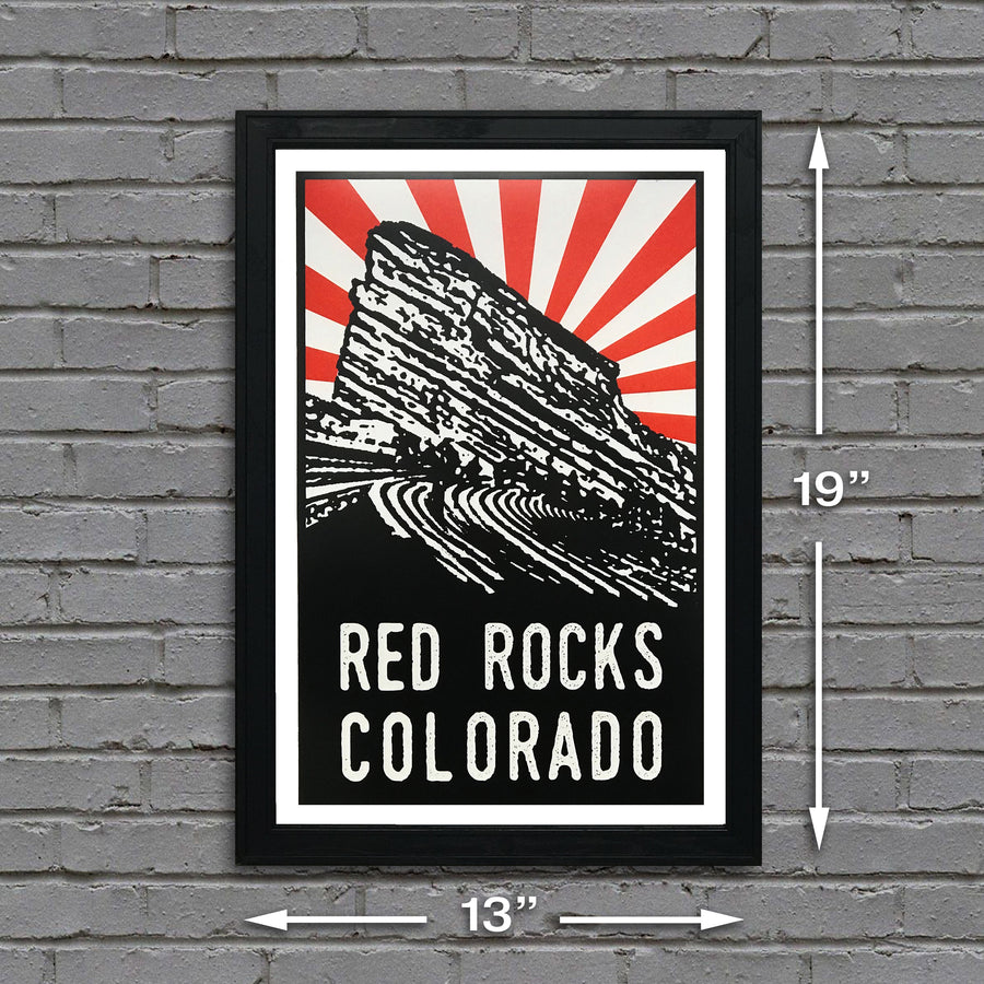 Red Rocks Poster Art - Orange Starburst - 13x19""