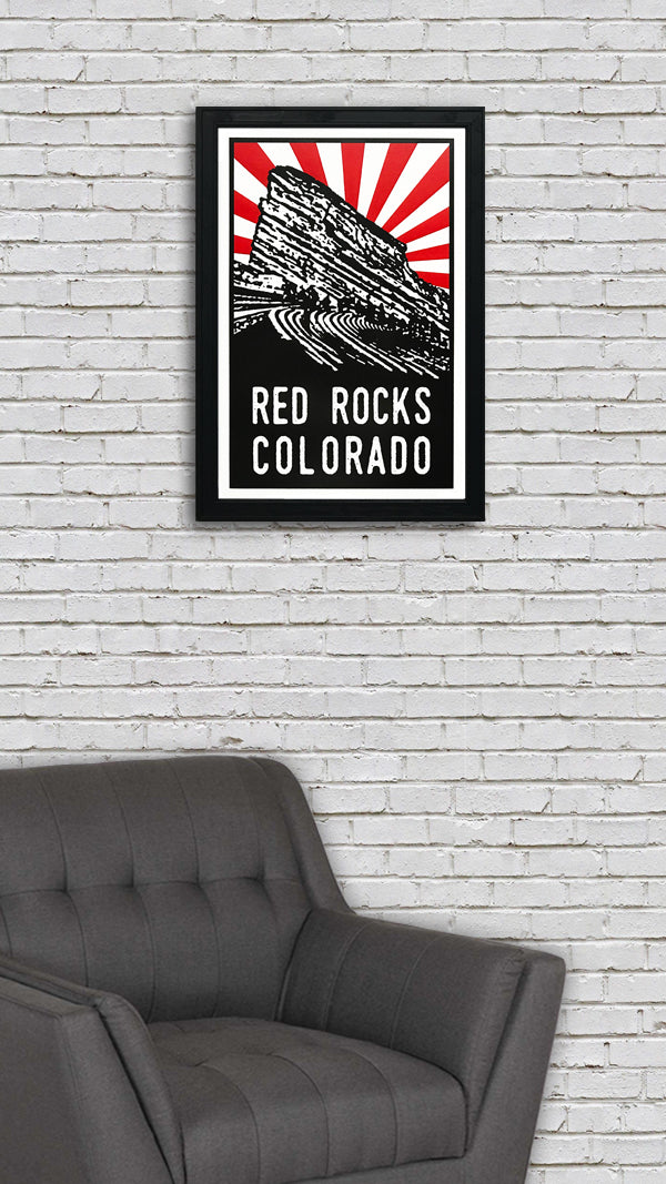 Red Rocks Poster Art - Red Starburst - 13x19""
