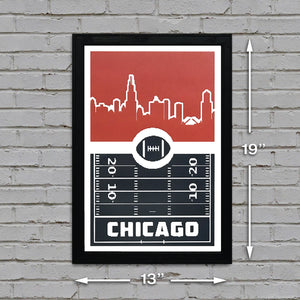 Chicago Bears Poster Art - 8 Bit Retro Print - 13x19""