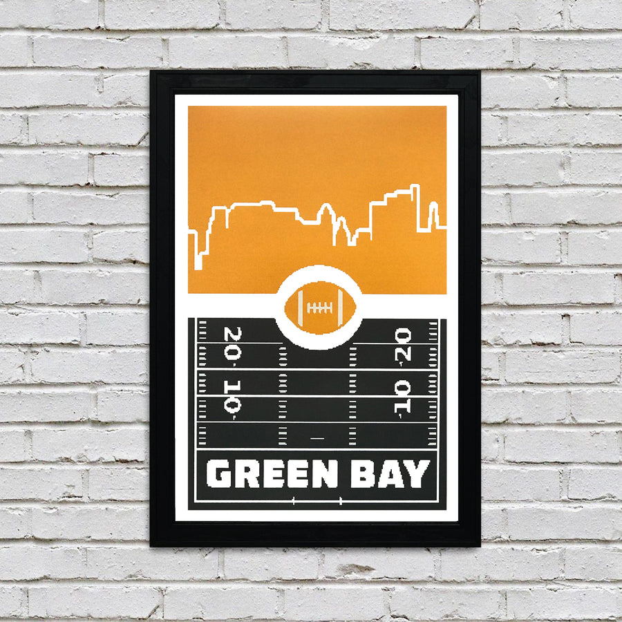 Green Bay Packers Poster Art - Retro Video Game Print - 13x19""