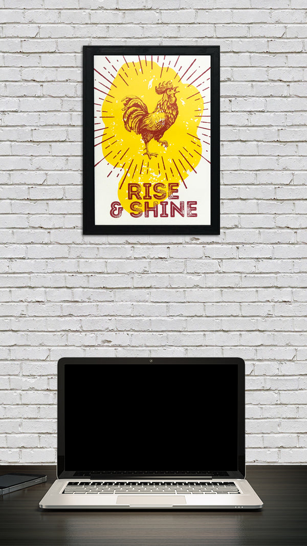 Rise and Shine Poster Art Print Red and Yellow - 13x19""
