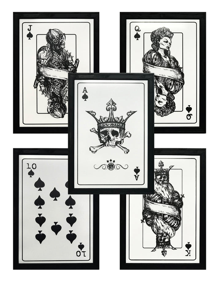 Royal Flush Complete Set Skeleton Card Art Prints / Posters - 13x19""