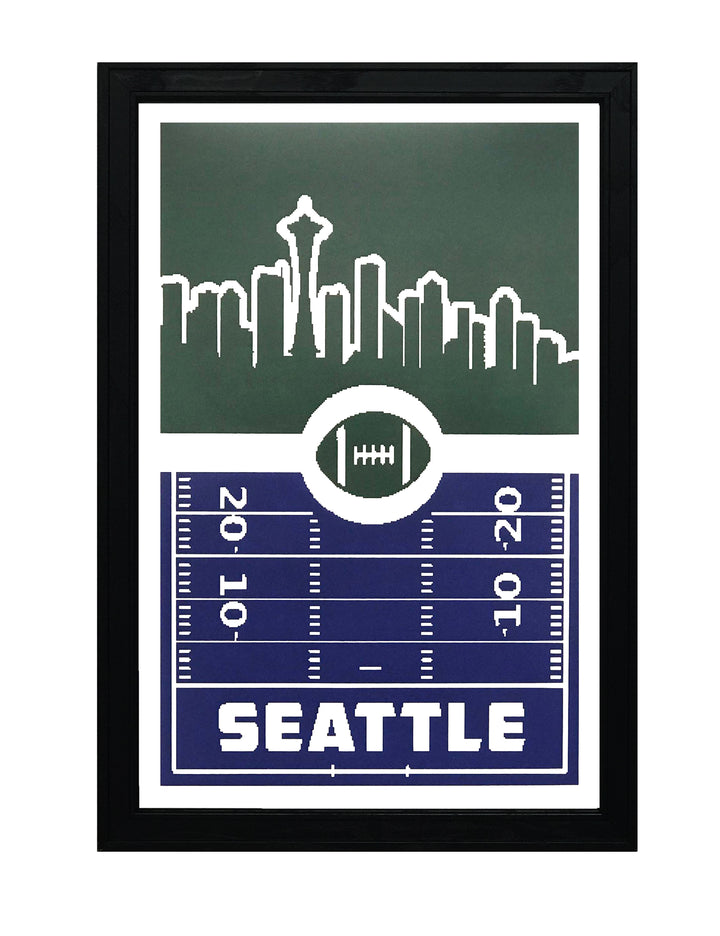 Seattle Seahawks Poster Art - Retro Print 13x19""