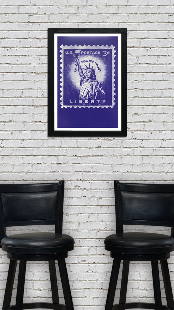 Statue of Liberty Poster - Postage Stamp Art - 13x19""