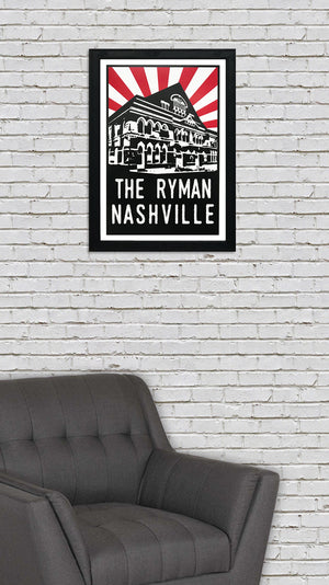 The Ryman Auditorium Art Poster - Red Starburst - 13x19""