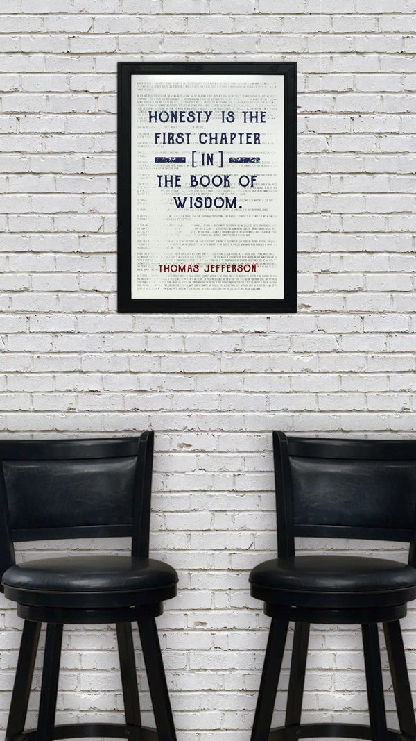 Thomas Jefferson Poster Art - Honesty First Chapter in Wisdom Quote - Patriotic Colors - 13x19""