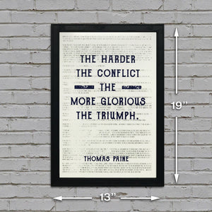 Thomas Paine Harder the Conflict Greater the Triumph Quote Art Print Blue - 13x19""