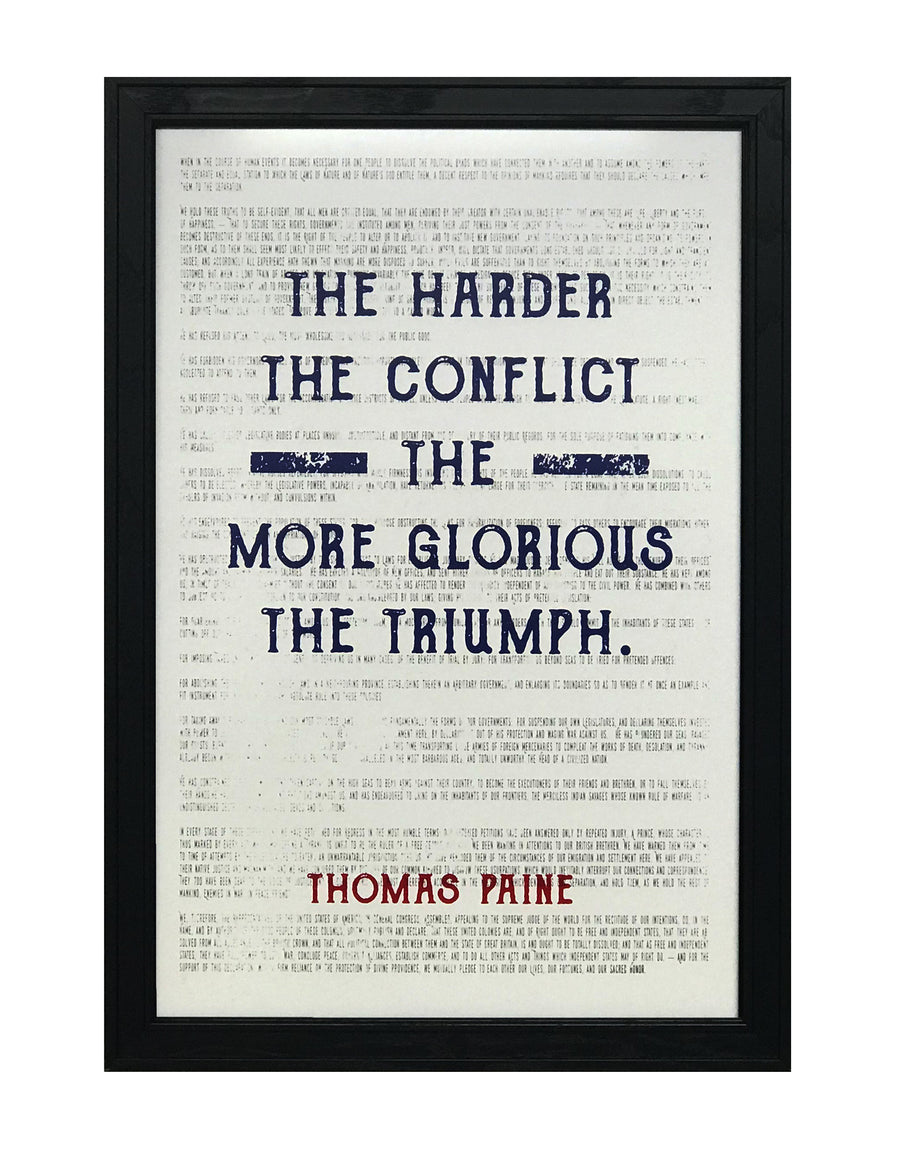 Thomas Paine Quote Art Poster - Harder the Conflict Greater the Triumph - Patriotic Colors - 13x19""