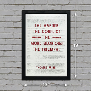 Thomas Paine Art Poster - Harder the Conflict Greater the Triumph Quote Red - 13x19""