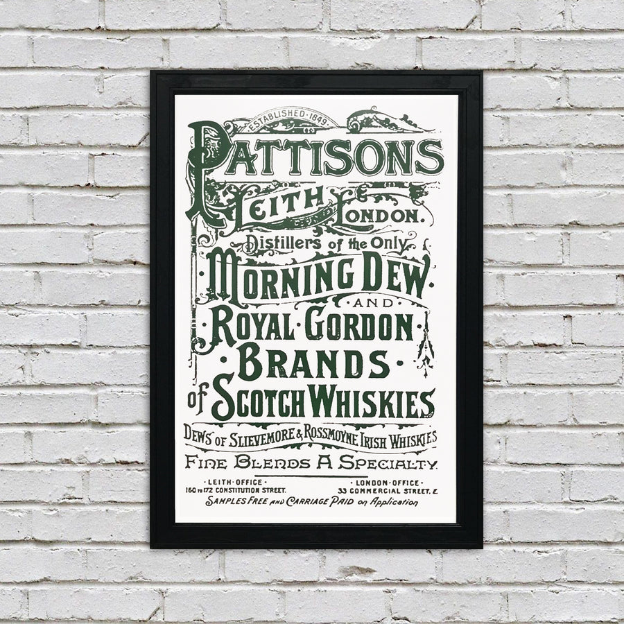 Pattison's Morning Dew Scotch and Whiskies Vintage Advertising Poster Art - Green - 13x19""