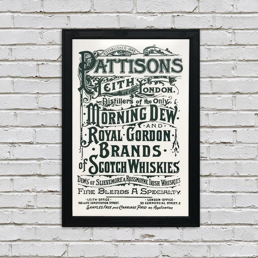Pattison's Morning Dew Scotch and Whiskies Vintage Advertising Poster Art - Grey - 13x19""