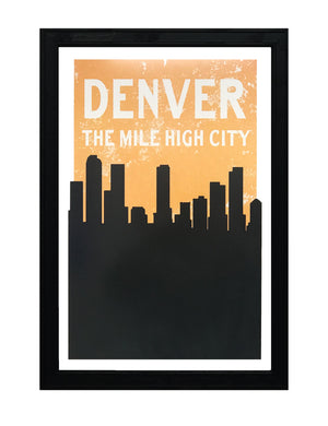 Vintage Denver Skyline Poster Art - Pastel Orange and Black Print - 13x19""