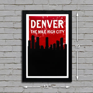 "13x19"" denver skyline art dimensional picture"