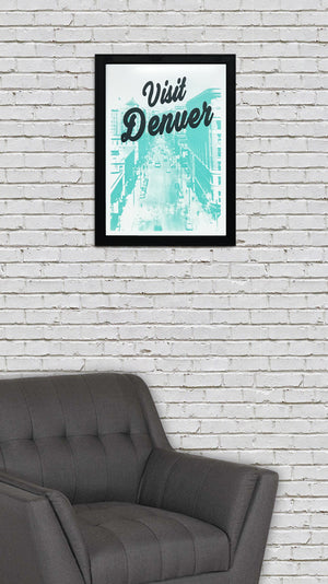 Visit Denver Poster Art - Black and Teal Print - 13x19""
