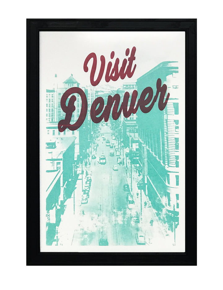Visit Denver Poster Art - Burgundy and Teal Print - 13x19""