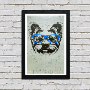 Yorkshire Terrier with Blue Glasses Art Poster / Print - 13x19""