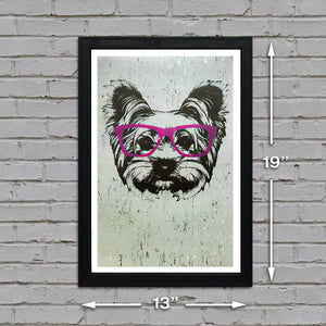 Yorkshire Terrier with Pink Glasses Art Print / Poster - 13x19""