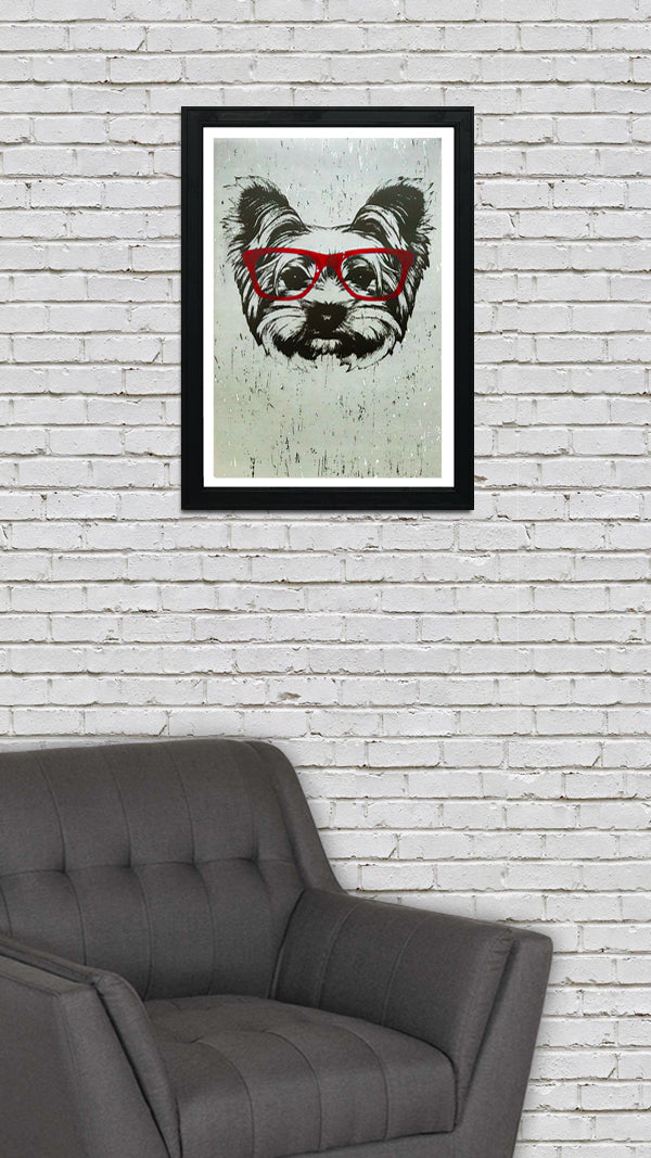 Yorkshire Terrier with Red Glasses Art Print / Poster - 13x19""
