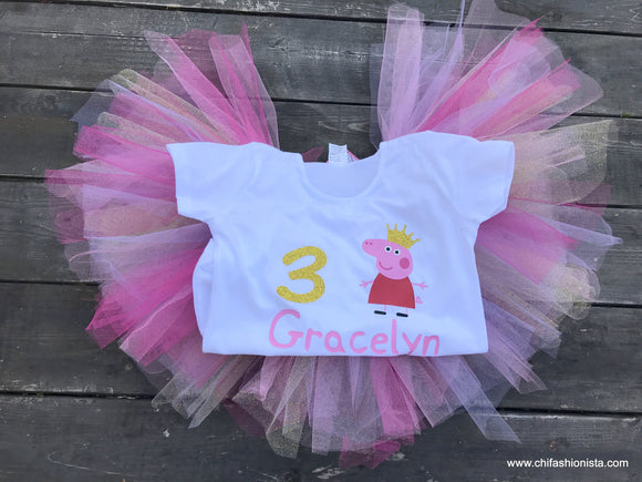Birthday Tee, Birthday Shirt, Peppa Pig Birthday, Tutu, Handmade shop, Small Shop