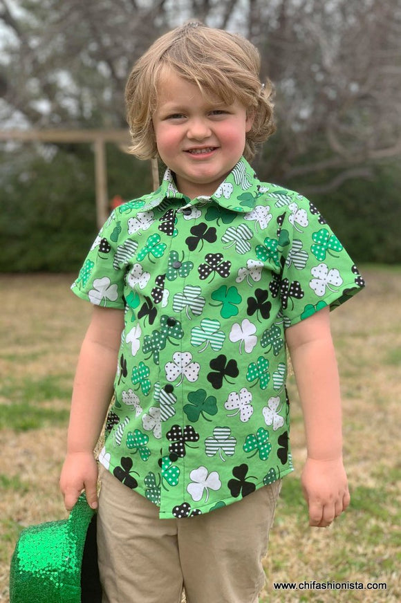 St. Patrick's Day Boy's Collared Shirt