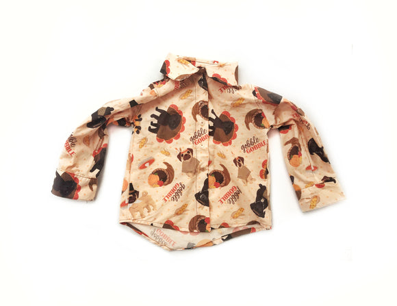 Pugsgiving Convertible Button Down Shirt  - Thanksgiving Style