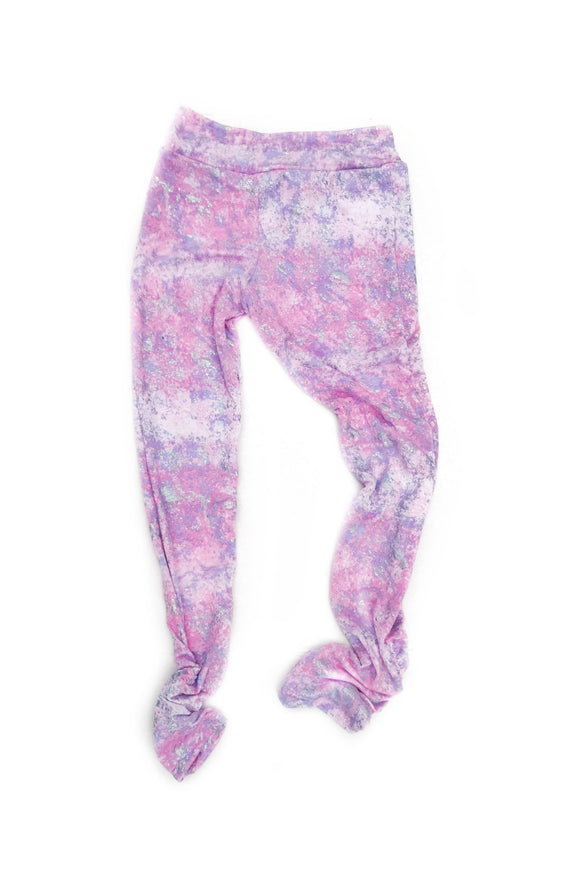 Rouched Leg Leggings- Pink and sparkle silver