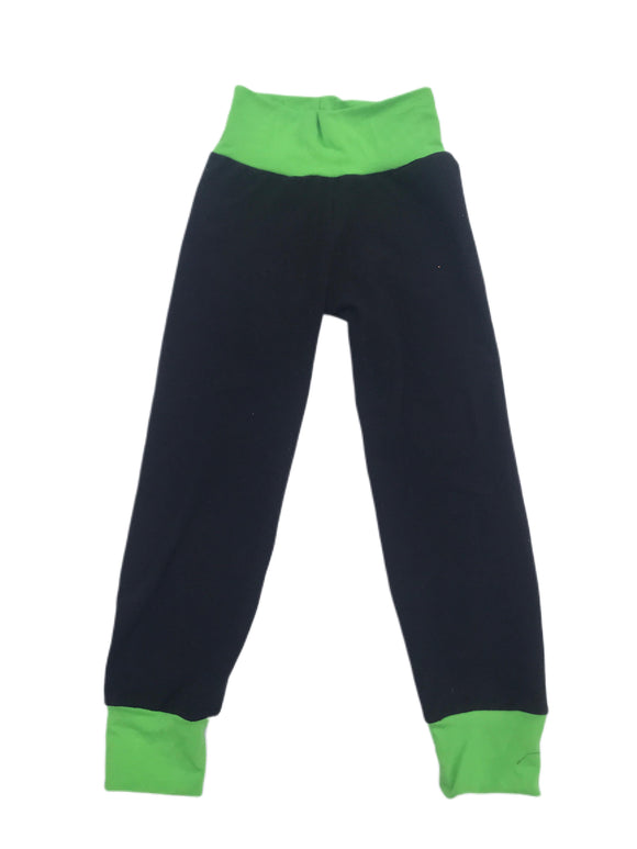 Black and Lime Solid Joggers