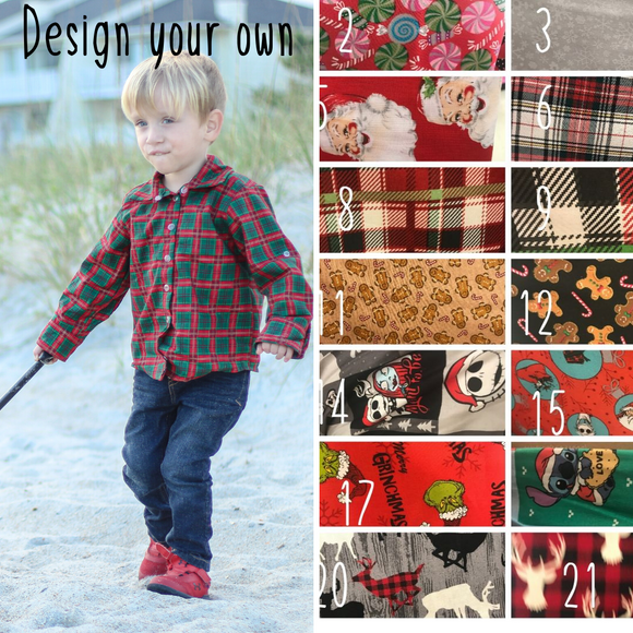 Christmas Button Up Shirt- Choose your fabric