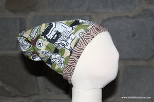 Handcrafted Children's Clothing, Clothing for Children and Parents, Camouflage Reversible Slouchy Hat, chi-fashionista