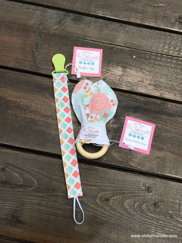Teal and Coral Sensory Teething Ring and Pacifier Clip Baby Shower Gift Set