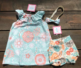 Handcrafted Children's Clothing, Clothing for Children and Parents, Coral & Teal Paper Flower Bummies, chi-fashionista