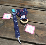 Anchor Pacifier Clip & Sensory Teething Ring