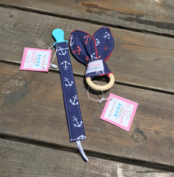 Handcrafted Children's Clothing, Clothing for Children and Parents, Anchor Pacifier Clip & Sensory Teething Ring, chi-fashionista
