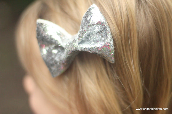 Handcrafted Children's Clothing, Clothing for Children and Parents, Silver Sparkly Bow, chi-fashionista