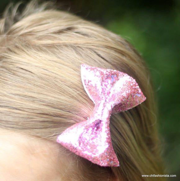 Handcrafted Children's Clothing, Clothing for Children and Parents, Pink Sparkly Glitter Bow, chi-fashionista