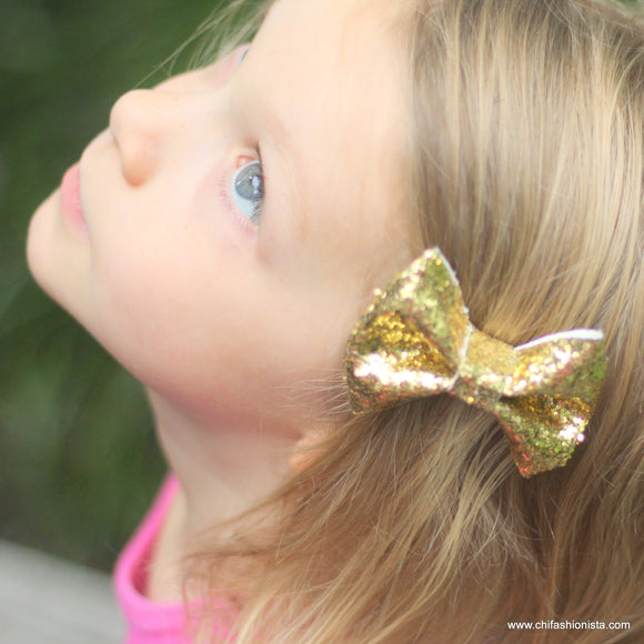 Handcrafted Children's Clothing, Clothing for Children and Parents, Gold Sparkly Bow, chi-fashionista