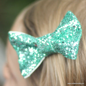 Handcrafted Children's Clothing, Clothing for Children and Parents, Teal Sparkly Bow, chi-fashionista