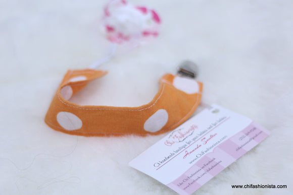 Orange and White Polka Dot Pacifier Clip