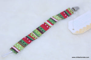 Christmas Striped Pacifier Clip
