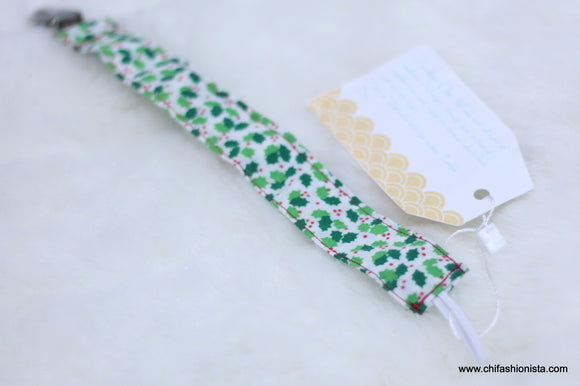 Christmas Holly Pacifier Clip
