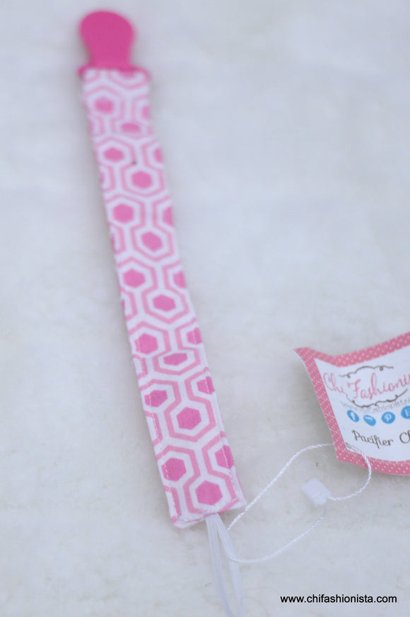 Pink Hexagon print Pacifier Clip