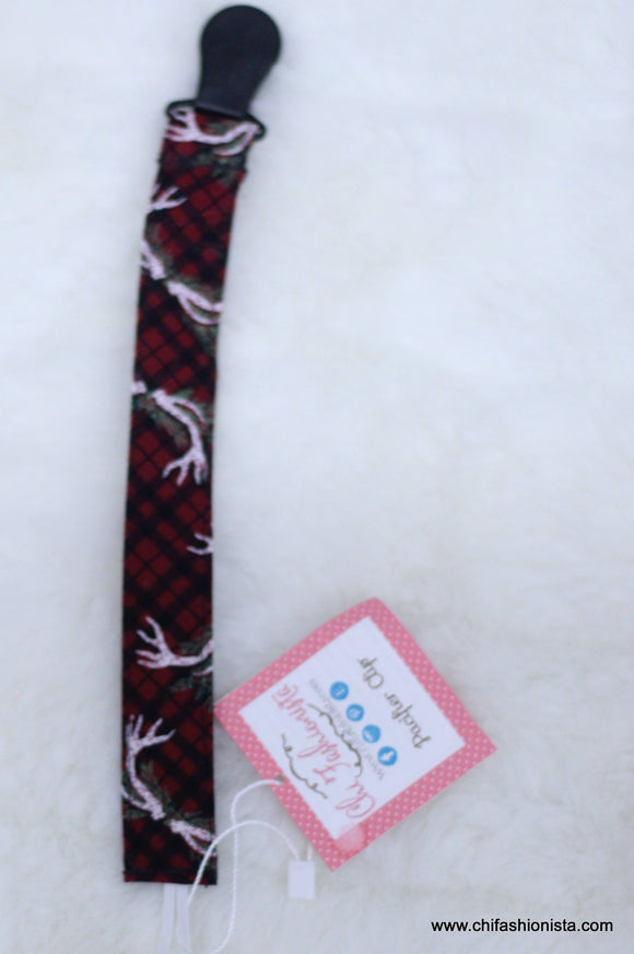 Christmas Plaid Antler Pacifier Clip