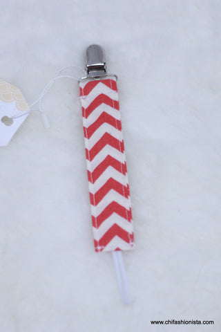 Red White Chevron mini Pacifier Clip