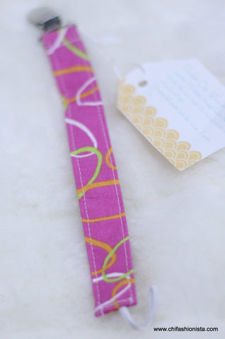 Pink Abstract Pacifier Clip