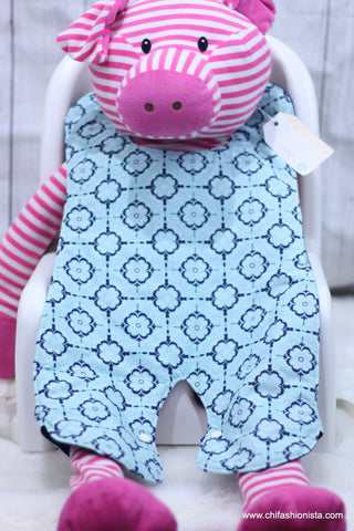 Teal and Blue Floral Body Bib