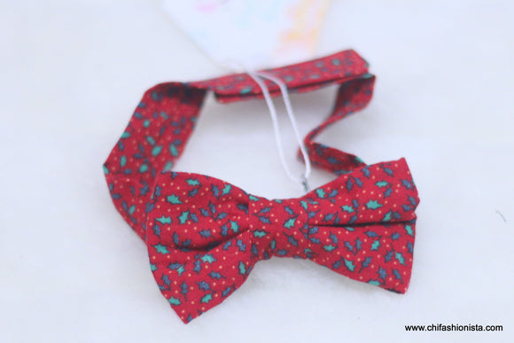 Christmas-Red Holly Bow Tie