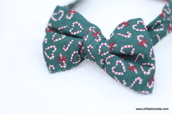 Christmas-Green Candy Cane Bow Tie