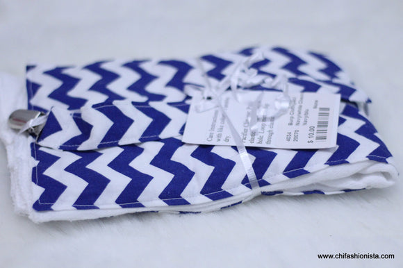 Blue Chevron Burp Cloth