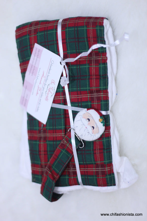 Christmas Plaid Burp Cloth Set